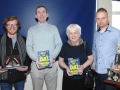 Members of the 2000 and 2002 winning school quiz teams Brian Cunningham, Patrick Lawless, Joan O'Donoghue (representing her son Martin O'Donoghue) and Sean Reilly.