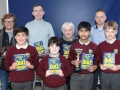 (Back) Members of the 2000 and 2002 winning school quiz teams Brian Cunningham, Patrick Lawless, Joan O'Donoghue (representing her son Martin O'Donoghue) and Sean Reilly. (Front) The current very successful school quiz team Mattie Newell, Owen Halion, Vishrut Srinivasa and Sean Rhatigan.
